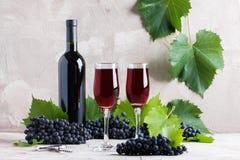 2 стекла и бутылки модель-макета красного вина для логотипа стоковые изображения