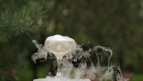 Стекла курить шампанского стекла обрамленные шампанским горизонтально сняли Дым вздымаясь над каннелюрой Шампани Ресторанное обсл Стоковые Фотографии RF