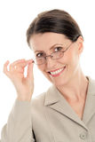 стекла нося женщину стоковые фотографии rf