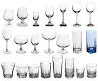 стекла спиртных пить установили Стоковые Фото