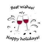 2 стекла с приветственными восклицаниями красного вина и наилучшими пожеланиями отправляют SMS изолированный на белой иллюстрации бесплатная иллюстрация