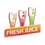 3 стекла с различным соком, красным цветом, апельсином, зеленым Стоковые Фотографии RF