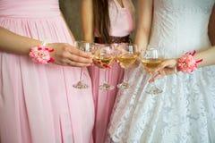 Стекла с шампанским в девушках в красивых платьях Стоковая Фотография