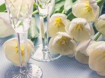 2 стекла с шампанским и тюльпанами на голубой предпосылке стоковые изображения rf
