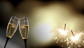 Стекла Clink - ` s Eve/торжество Нового Года стоковые фото