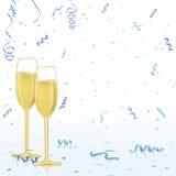 стекла confetti шампанского предпосылки Стоковое фото RF