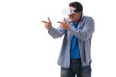 Стекла vr виртуальной реальности молодого человека нося Стоковое Изображение RF