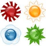 стекловидные иконы установили иллюстрация вектора