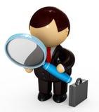 стекло бизнесмена смотря увеличивающ бесплатная иллюстрация
