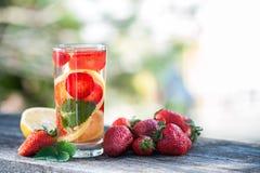 Стекло воды вытрезвителя Клубника, лимон и мята с холодным cl Стоковые Фотографии RF