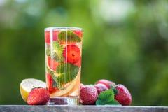 Стекло воды вытрезвителя Клубника, лимон и мята с холодным cl Стоковое Изображение