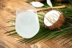 Стекло воды кокоса Стоковые Изображения