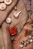 Стекло горячих красных перцев, яичек триперсток, розмаринового масла и чеснока на скомканной бумажной и деревенской ткани ингриди Стоковые Изображения RF