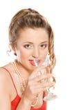 стекло девушки шампанского Стоковая Фотография