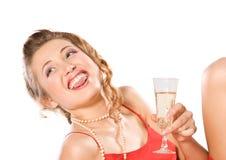стекло девушки шампанского Стоковое Изображение RF