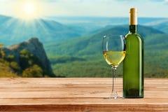 Стекло и бутылка белого вина на предпосылке Стоковое фото RF