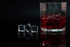 Стекло ликера и льда в темной предпосылке Стоковое фото RF