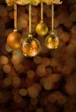 стекло рождества шариков золотистое Стоковые Фото