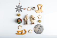 стекло состава рождества bauble голубое Подарок, рождество, украшения Нового Года, снежинки, звезды, диаграммы, конусы сосны Плос Стоковые Фотографии RF