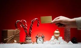 стекло состава рождества bauble голубое Поздравительная открытка для будильника Нового Года к Стоковые Изображения