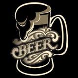 Стекло с каллиграфической надписью для пива Стоковые Изображения
