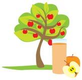 Стекло яблочного сока и 3 бесплатная иллюстрация