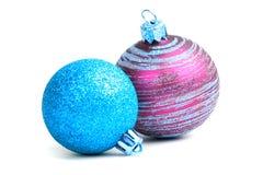 стекло 2 рождества шариков Стоковая Фотография