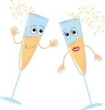 стекло 2 танцы шампанского Стоковые Фото