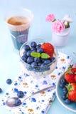 Стекло chia кофе и пудинга с голубиками и клубниками для еды вегетарианца завтрака букет знамени цветет малое Стоковые Фотографии RF