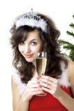 стекло santa девушки шампанского Стоковые Изображения RF