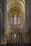 Стекло Vitrage внутри собора St Vitus Стоковое Изображение RF