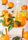 Стеклянная бутылка свежего сока tangerine мандарина Стоковое Изображение