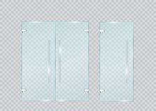 Стеклянная дверь на прозрачной предпосылке вектор иллюстрация штока