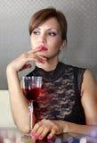 стеклянная женщина вина ll Стоковая Фотография RF