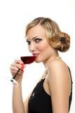стеклянная женщина красного вина Стоковые Фото