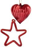 стеклянная звезда красного цвета сердца стоковое изображение rf