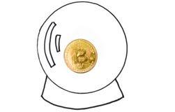 Стеклянная сфера с монеткой cryptocurrency bitcoin Стоковые Изображения RF