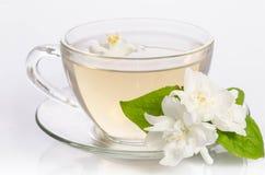 Стеклянная чашка чаю с цветками и листьями жасмина стоковые изображения rf