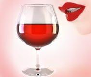 стеклянное вино губ Стоковые Изображения RF