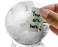 стеклянное сообщение глобуса Стоковые Изображения RF