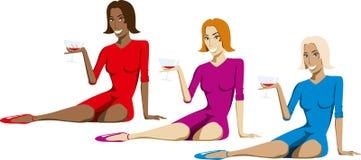 стеклянные женщины вина иллюстрация вектора