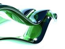 стеклянные зеленые волны 3d Стоковое Изображение