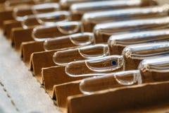 Стеклянные пробирки или ампулы медицины Впрыски лекарств, вакцины Медицинские стеклянные бутылки с жидкостью Стоковое Изображение