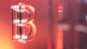 Стеклянные символы bitcoin против красной и оранжевой предпосылки перевод 3d Стоковое Изображение
