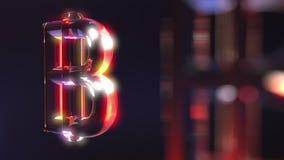 Стеклянные символы bitcoin против темной предпосылки перевод 3d Стоковое Фото