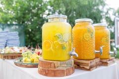 Стеклянный банк лимонада с отрезанными цитрусовыми фруктами на таблице шведского стола Партия лета внешняя Вытрезвитель Стоковая Фотография RF