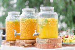 Стеклянный банк лимонада с отрезанными цитрусовыми фруктами на таблице шведского стола Партия лета внешняя Вытрезвитель Стоковые Фото