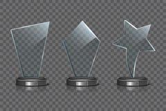Стеклянный комплект шаблона награды изолированный на прозрачной предпосылке Награда трофея вектора пустая стеклянная Стоковое Изображение RF