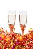 2 стекла безделушки рождества шампанского и золота Стоковые Фото
