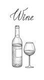 стекла бутылок установили белое вино 7 6 Наполовину полный бокал, бутылка, помечая буквами Меню кафа Wi Стоковая Фотография RF